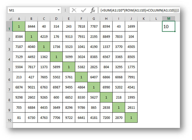 Sum up the diagonal of your data anywhere on a Sheet