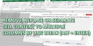 REMOVE, REPLACE OR SEPARATE BY LINE BREAKS (ALT + ENTER