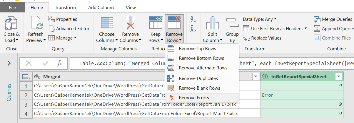 Making Importing from Folder in Power Query (or Power BI