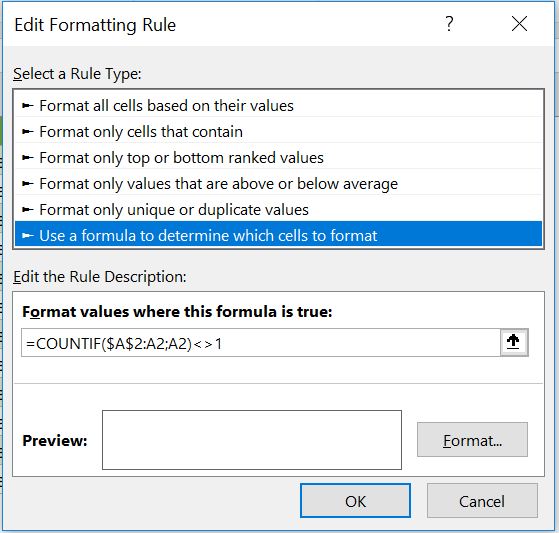 Conditional Formatting Tabular View Simulation
