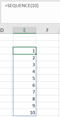 A simple Sequence function to get a list of numbers from 1 to 10